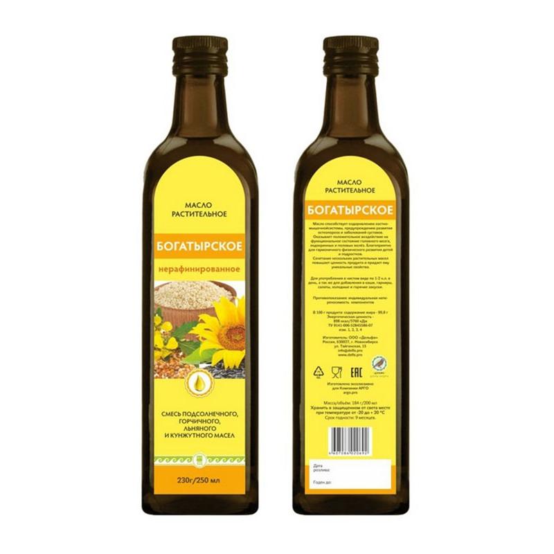 Масло салатное «Богатырское», 250 мл, стеклянная бутылка