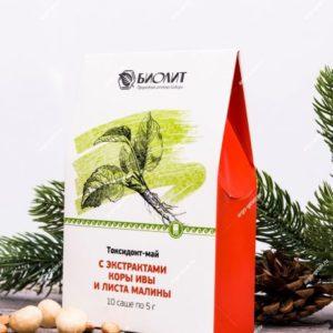 Токсидонт-май с экстрактами коры ивы и листа малины, 10 саше по 5 г